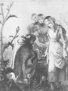 Ludwig Emil Grimm [Public domain], via Wikimedia Commons; Alte Zigeunerin beim Handlesen, 1826. http://upload.wikimedia.org/wikipedia/commons/9/9a/Die_alte_Zigeunerin_Lore_aus_Ungedanken_liest_einem_M%C3%A4dchen_aus_der_Hand.jpg