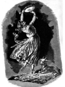 """La Esmeralda. Unbekannter Künstler, erschienen 1882 in """"Victor Hugo and His Time"""" von Alfred Barbou [Public domain], via Wikimedia Commons. http://upload.wikimedia.org/wikipedia/commons/2/2c/La_Esmeralda_from_Victor_Hugo_and_His_Time.jpg"""